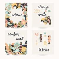 vykort med inspirerande citat och bohemiska färgglada fjädrar
