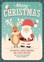 god julkort med jultomten och renar på vinterbakgrund vektor