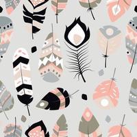 nahtloses Muster mit Boho Vintage Stammes ethnischen bunten lebendigen Federn vektor