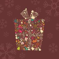 dekorativ julkartongask med renar, snöflingor och blommor vektor
