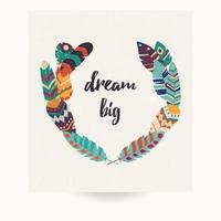 vykortdesign med inspirerande citat och bohemiska färgglada fjädrar