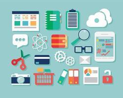 Sammlung von flachen Design-Symbolen, Computer und Mobilgeräten, Cloud Computing, Kommunikation vektor