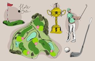 Weinlese-Golf-Meisterschafts-Hand gezeichnete Vektor-Illustration