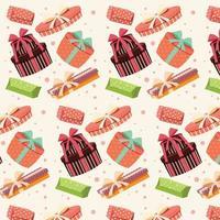 Hintergrund mit bunten Geschenkboxen mit Schleifen und Bändern in verschiedenen Formen, nahtloses Muster
