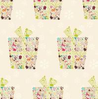 sömlösa mönster med prydnads jul presentask med renar, snöflingor och blommor vektor