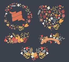 handgezeichnete Vintage Blumen und Blumenelemente für Hochzeiten, Valentinstag, Geburtstage und Feiertage vektor