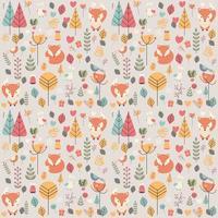 nahtloses Muster mit niedlichem Weihnachtsbabyfuchs, umgeben von Blumendekoration