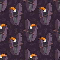 sömlösa mönster med söt djungel papegoja toucan på lila bakgrund vektor