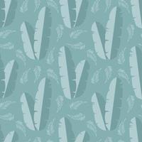 sömlösa mönster med djungel palmblad på blå bakgrund vektor