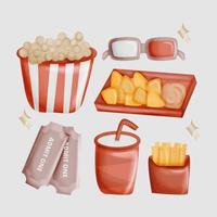 Vektor-Hand gezeichnete Film-Nachtessentials