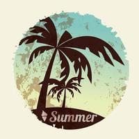 sommarlovskort med palmer och flip flops vektor
