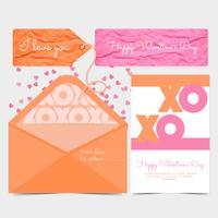 Vektor-Valentinstag-Karte und Umschlag vektor