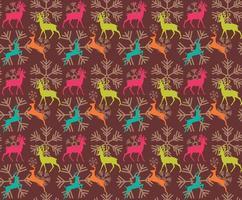sömlösa mönster med renar och julsnöflingor vektor