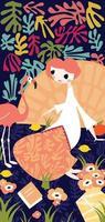 Mädchen mit Flamingo abstrakten Stil vektor