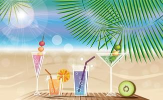sommarsemester bakgrund med tropisk ö och cocktails vektor