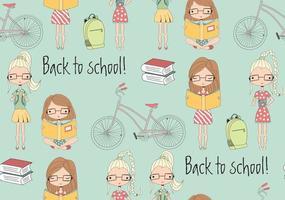 nahtloses Muster für den Schulanfang mit Schulmädchen, Fahrrad und Büchern vektor