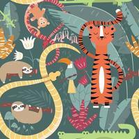 sömlösa mönster med söta regnskogsdjur, tiger, orm och lättja vektor