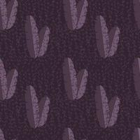 sömlösa mönster med djungel palmblad på lila bakgrund vektor