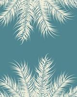 tropisk design med vanilj palmblad och växter på blå bakgrund vektor