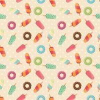 nahtloses Muster mit Eis und bunten leckeren Donuts