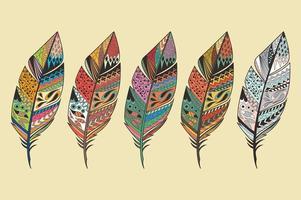 samling av vintage stam etniska hand dras färgglada fjädrar