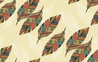 sömlösa mönster med vintage stam etniska hand dras färgglada fjädrar