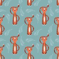 sömlösa mönster med söt orange tiger på blå bakgrund vektor