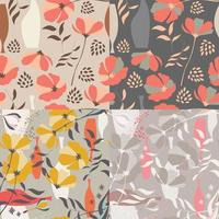samling av fyra vektor sömlösa mönster med blommiga element