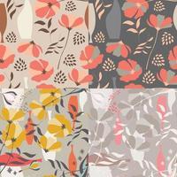 Sammlung von vier nahtlosen Vektormustern mit floralen Elementen vektor