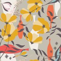 sömlösa mönster med blommiga element vektor