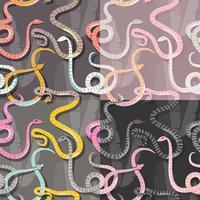 fyra sömlösa mönster med färgglada ormar vektor