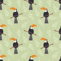 sömlösa mönster med söt djungel papegoja toucan på grön bakgrund vektor
