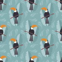sömlösa mönster med söt djungelpapegoja tukan på blå bakgrund vektor