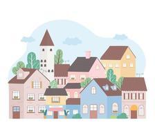 Wohnhäuser Nachbarschaft Architektur Eigentum Gebäude Bäume Design vektor