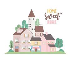 Zuhause süßes Zuhause, Häuser Wohn gewerbliche Stadtarchitektur Nachbarschaftsstraße vektor