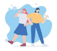 glücklicher Freundschaftstag, junge Gruppe Frauen Einheit Beziehung besondere Ereignisfeier
