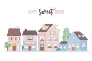 Zuhause süßes Zuhause, Häuser Wohnstadtarchitektur Nachbarschaftsstraße vektor