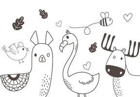 niedliche Tiere skizzieren Wildtierkarikatur entzückenden Alpaka-Vogelbienenflamingo und Rentier vektor