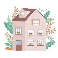 mehrstöckiges Haus Wohngarten Vorderansicht Design