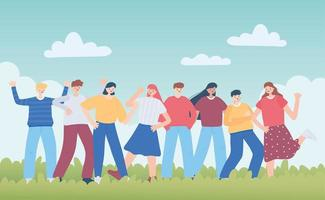 glücklicher Freundschaftstag, vielfältige Freundesgruppe von Menschen besondere Ereignisfeier vektor