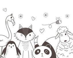 niedliche Tiere skizzieren Wildtierkarikatur entzückenden Fuchspanda-Schafpinguinbiene und Flamingo
