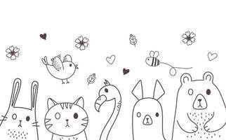 niedliche Tiere skizzieren Wildtierkarikatur entzückende Vogelbiene tragen Alpaka-Kaninchenkatze Flamingo und Blumen vektor