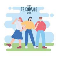 glad vänskapsdag, grupp människor utomhus, firande av speciella evenemang vektor