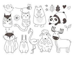 niedliche Tiere skizzieren Wildtierkarikatur entzückende Schafe Pandahirschbär Kaninchen Eule Flamingo Vogelbiene vektor