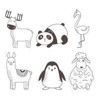 niedliche Tiere skizzieren Wildtierkarikatur entzückende Hirschpanda-Flamingo-Alpaka-Pinguin-Schafikonen vektor