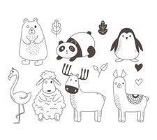 niedliche Tiere skizzieren Wildtierkarikatur entzückenden Bärenpanda-Pinguinflamingo-Schafhirsch und Alpaka mit Laubblättern vektor