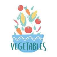 skål full av färska grönsaker sallad mat näring design