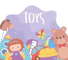 samling av barnleksaker med nallebjörn docka boll raket