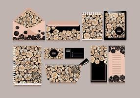 Rosen-Goldbriefpapier-Vektor