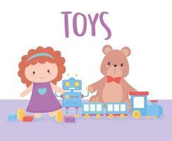 Spielzeug Objekt für kleine Kinder zu spielen Cartoon Puppe Bär Zug und Roboter vektor